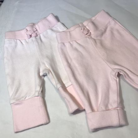 0-0 2 Pairs of Pink Trousers First Size